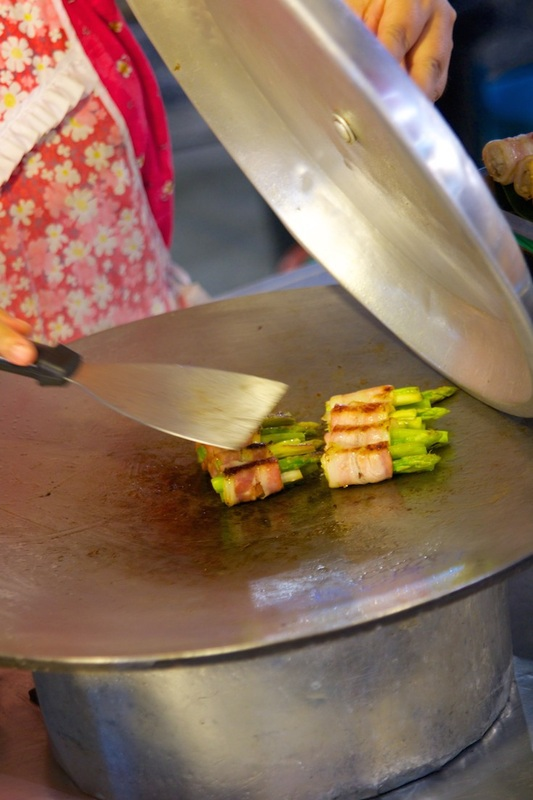 Grilled asparagus in Thailand.