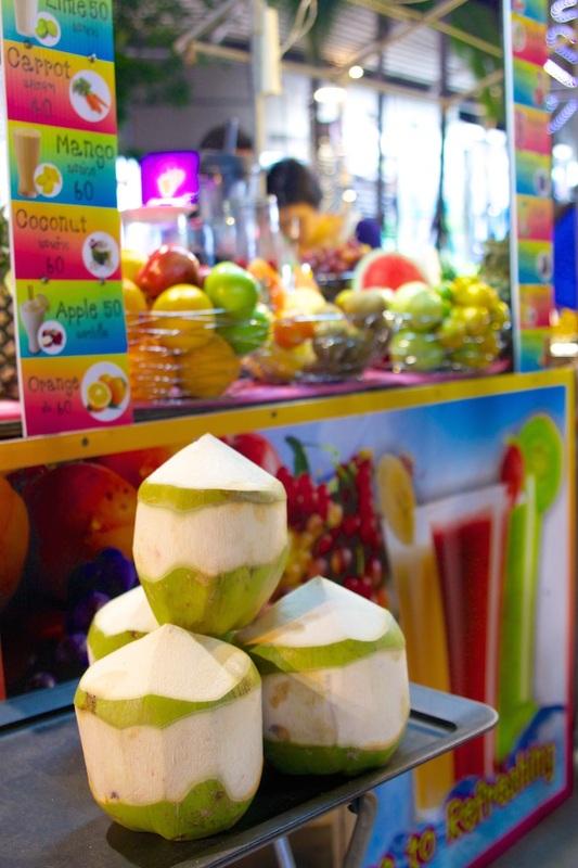 Fresh Thai coconuts.