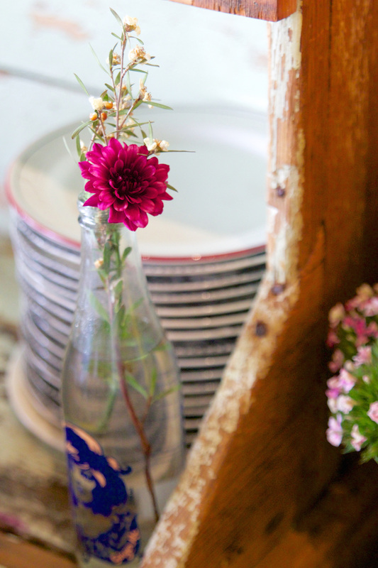 Rustic fresh flowers for cafe decor.