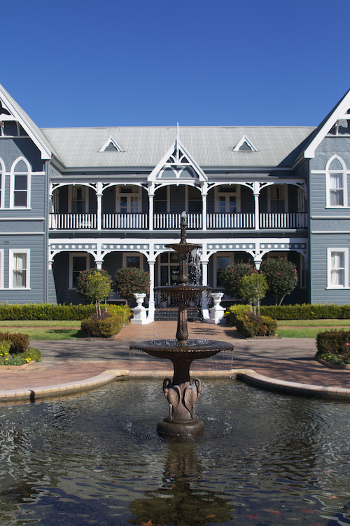 Fountain and front facade of Peppers Convent, Hunter Valley.
