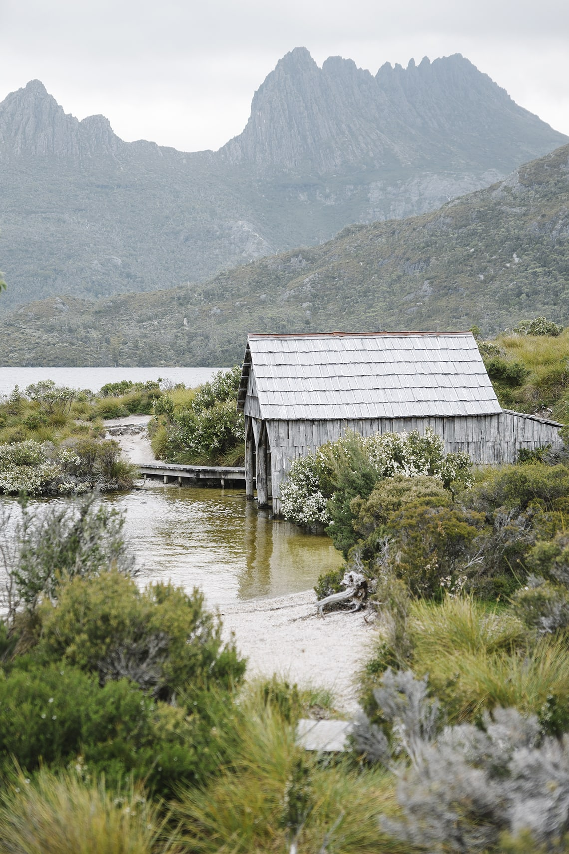 The Boat Shed on Dove Lake from the walking trail.