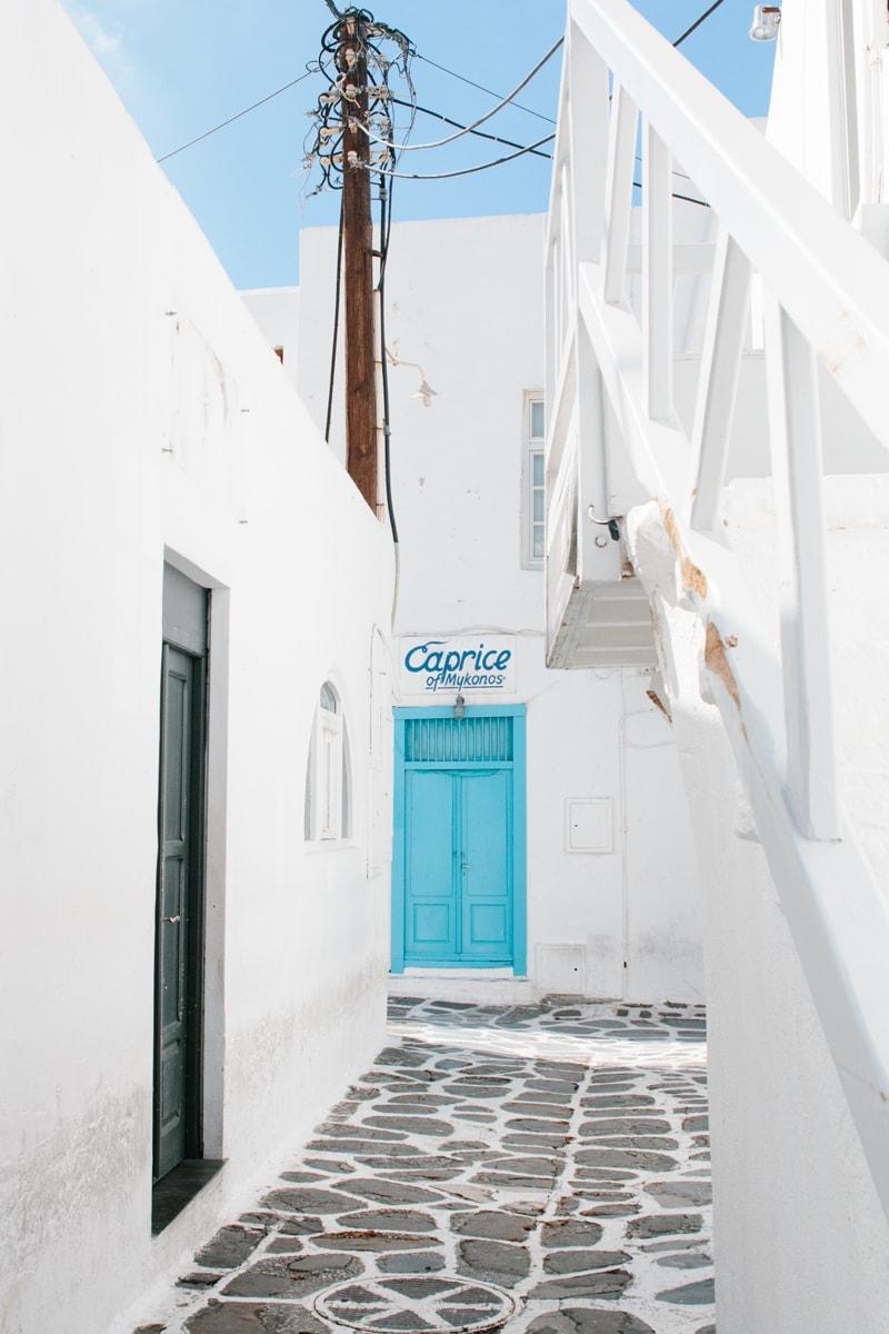 Cobblestone streets Mykonos Town
