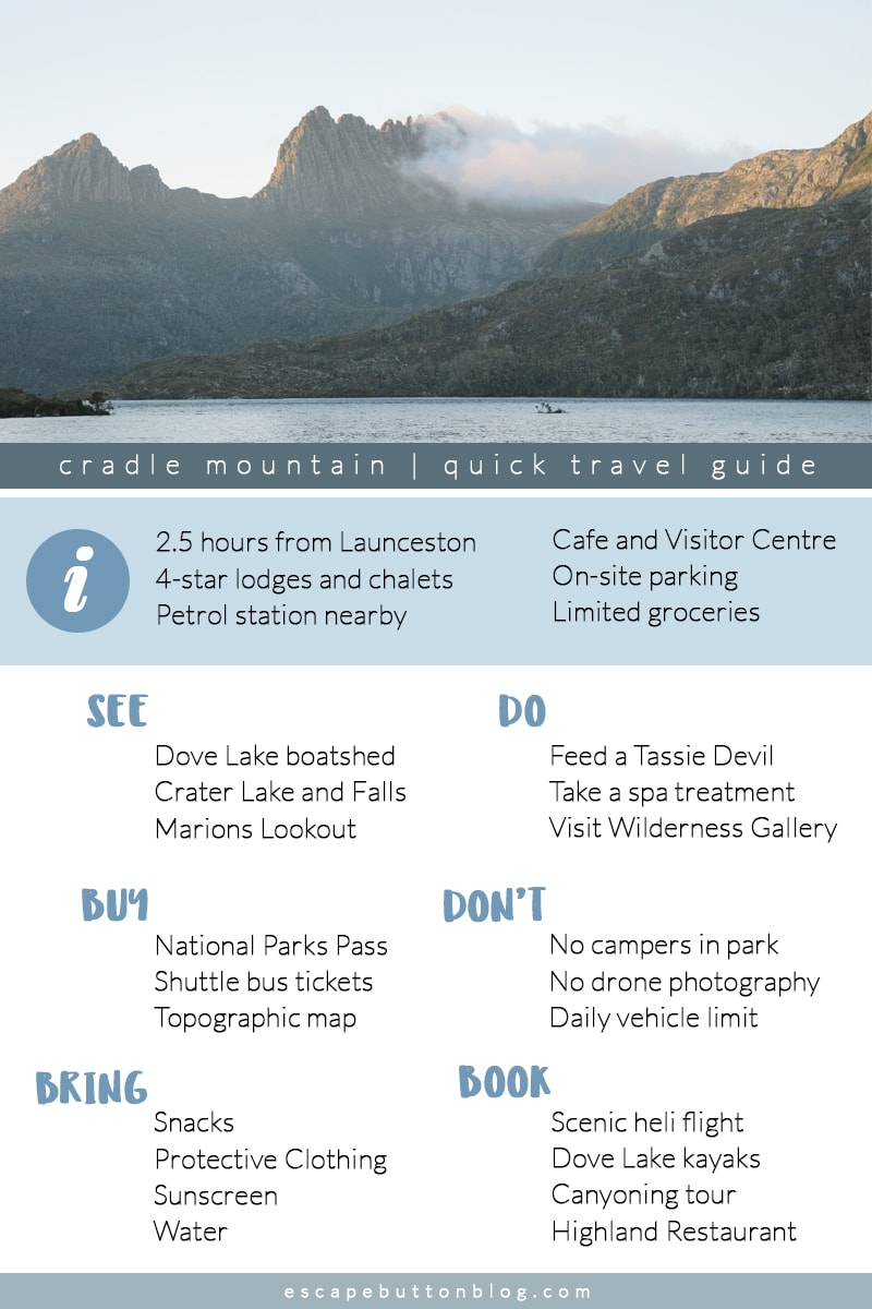Cradle Mountain infographic travel guide.