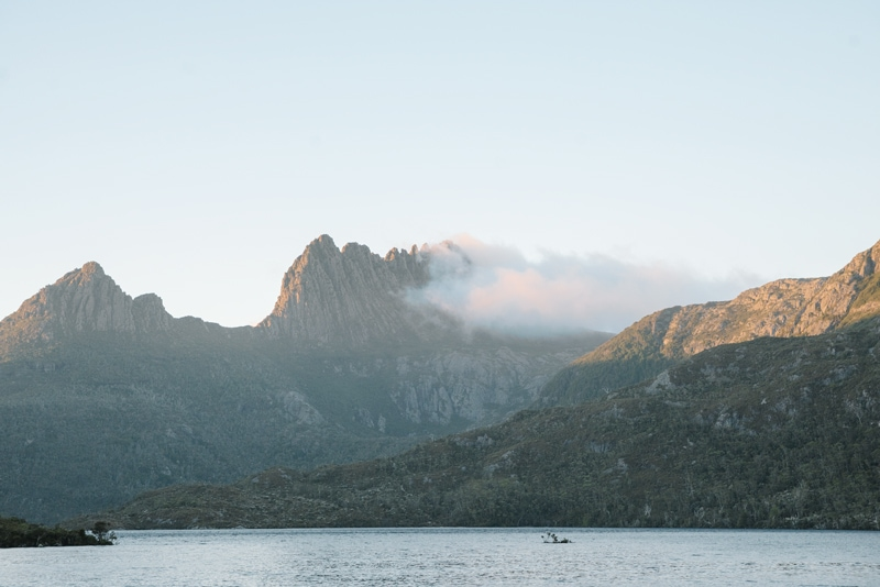 Dove Lake in Cradle Mountain at sunrise.