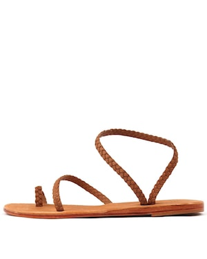 Tan Plaited Sandals Wanted Shoes