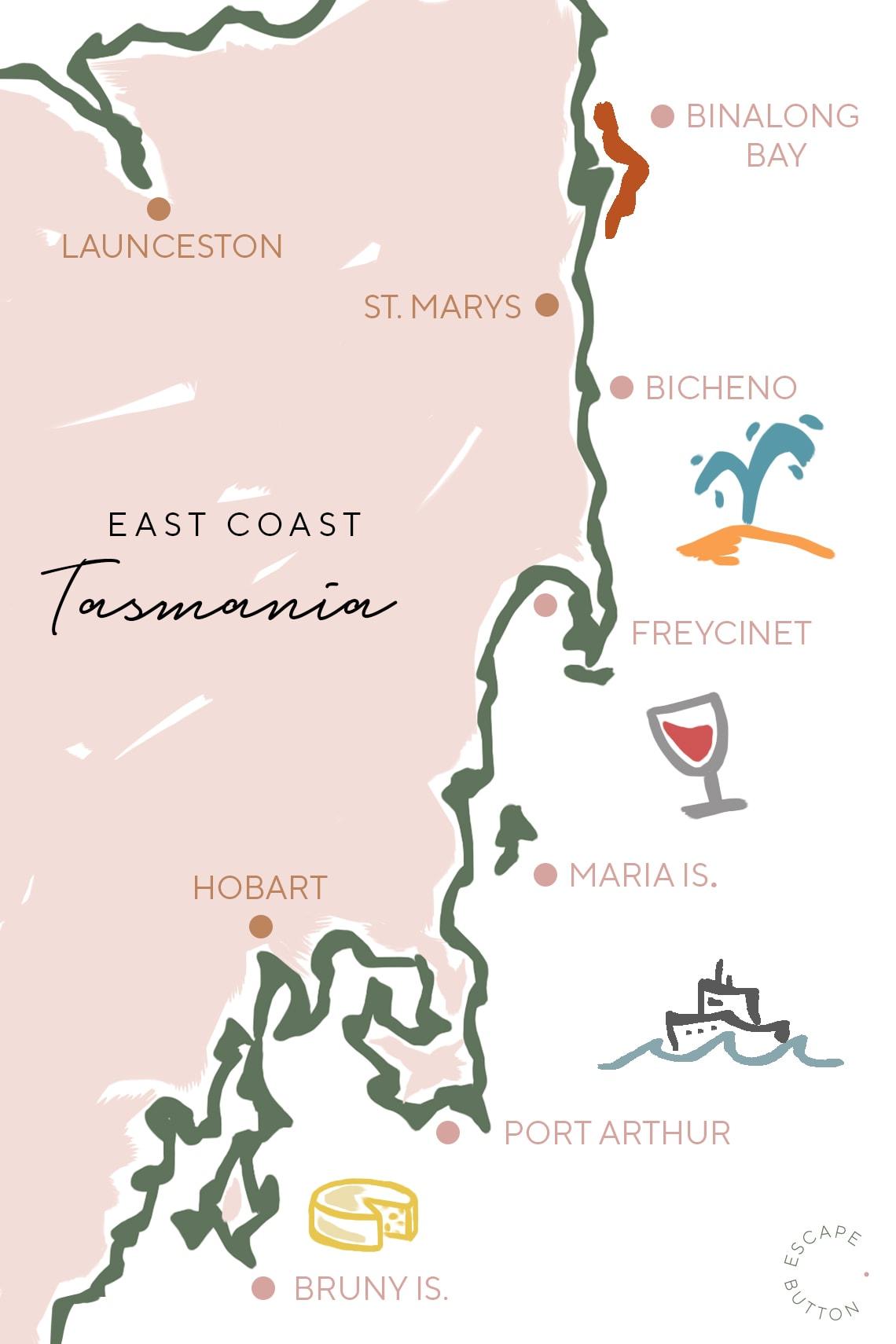 East Coast Tasmania road trip Map.