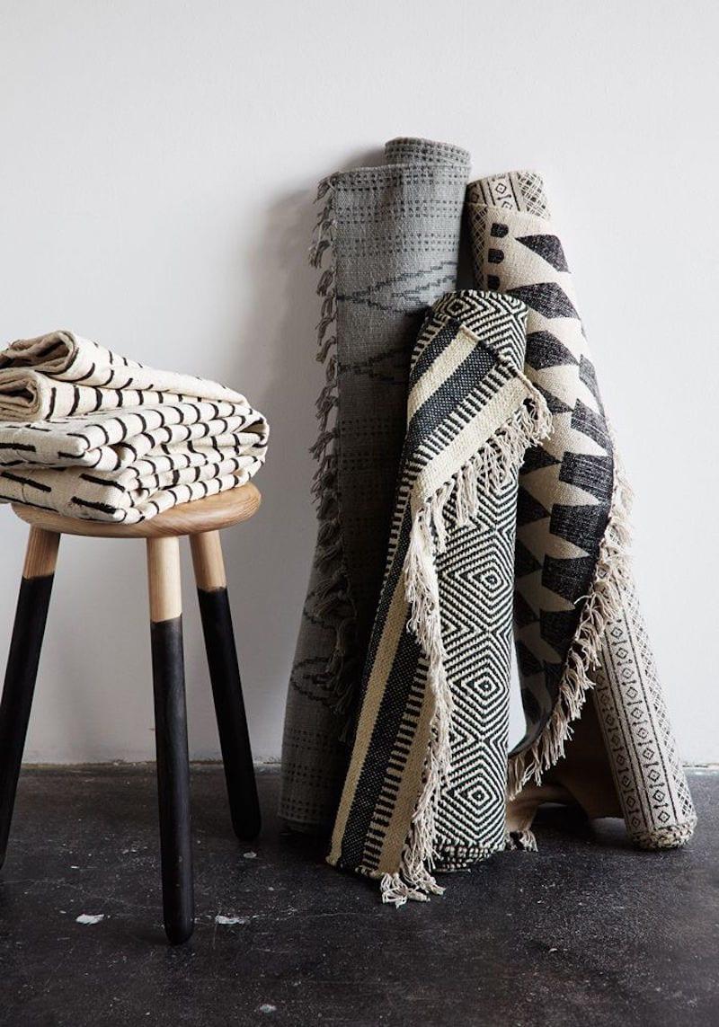 monochrome aztec rugs